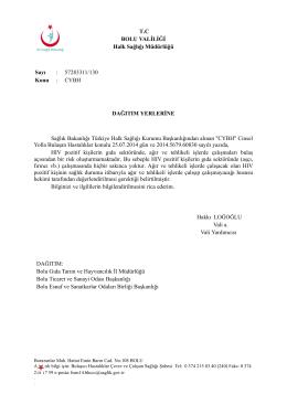 T.C BOLU VALİLİĞİ Halk Sağlığı Müdürlüğü Sayı : 57283311/130