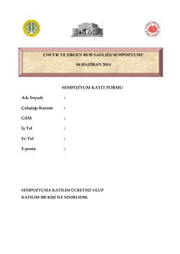 Sempozyum Kayıt Formu