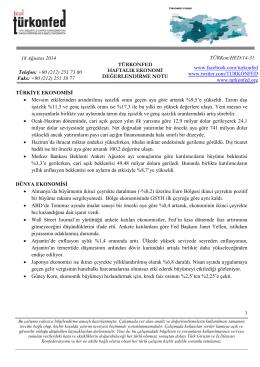 Haftalık Ekonomi Değerlendirme Raporu – 18.08.2014