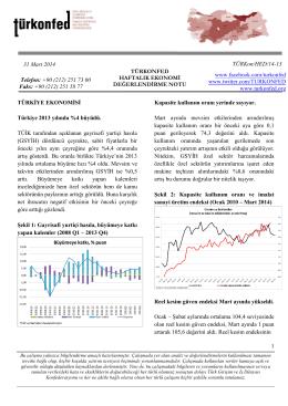 Haftalık Ekonomi Değerlendirme Raporu – 01.04.2014