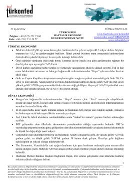 Haftalık Ekonomi Değerlendirme Raporu – 22.09.2014