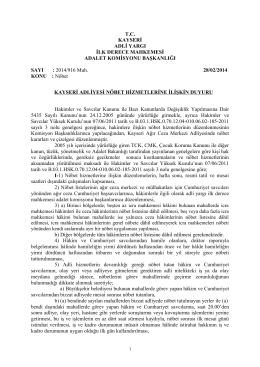 T.C. KAYSERİ ADLİ YARGI İLK DERECE