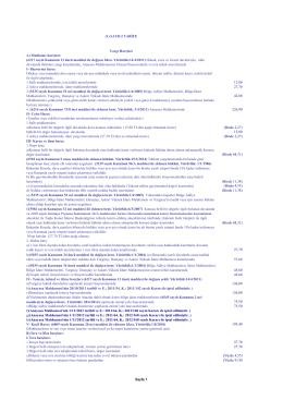 (1) SAYILI TARĐFE Yargı Harçları A) Mahkeme harçları: (6217 sayılı