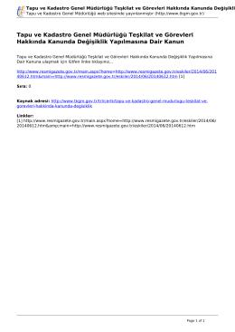 Tapu ve Kadastro Genel Müdürlüğü Teşkilat ve Görevleri Hakkında