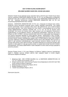 Birleşme Duyurusu - GEN Yatırım Holding