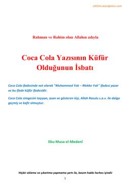 Coca Cola Yazısının Küfür Olduğunun İsbatı