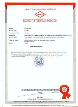 HİZMET YETERLİtİK BELGE~İ. - Ergi Güvenlik Sistemleri