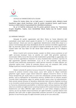 Dünya İlk Yardım Günü - İstanbul Anadolu Güney Kamu Hastaneleri