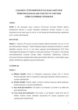 Eczacılık Fakültesi Öğretim Elemanı Görevlendirme Yönergesi