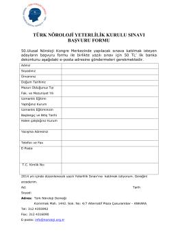 türk nöroloji yeterlilik kurulu sınavı başvuru formu