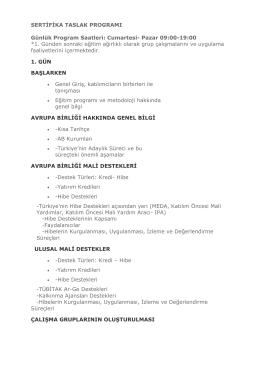 Cumartesi- Pazar 09:00-19:00 *1. Günden sonraki eğitim ağırlıklı ol