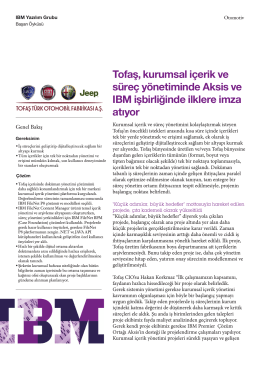 Tofaş, kurumsal içerik ve süreç yönetiminde Aksis ve IBM