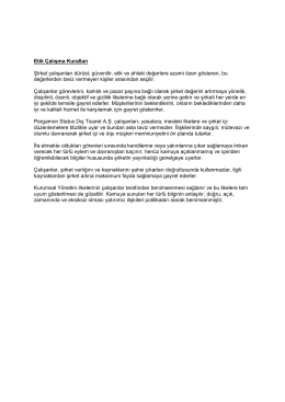 Etik Çalışma Kuralları - Pergamon