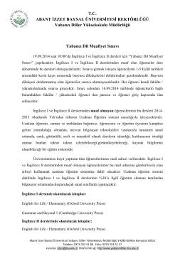 T.C. ABANT İZZET BAYSAL ÜNİVERSİTESİ REKTÖRLÜĞÜ Yabancı
