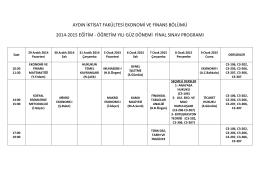 aydın iktisat fakültesi ekonomi ve finans bölümü 2014