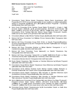 MAEÜ Senato Kararları (Toplantı No 217) Yer : SKS – Avşar Han