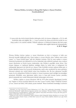"Thomas Hobbes, ""Leviathan"" ve Barışçıl Toplum Kuramı"