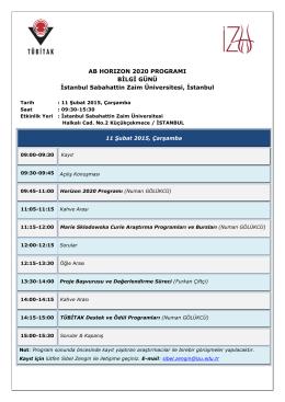 AB HORIZON 2020 PROGRAMI BİLGİ GÜNÜ İstanbul Sabahattin
