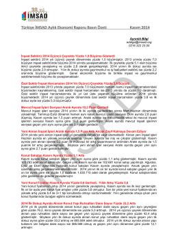 Türkiye İMSAD Aylık Ekonomi Raporu Basın Özeti Kasım 2014
