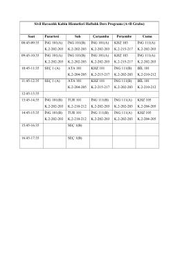 Sivil Havacılık Kabin Hizmetleri Haftalık Ders Programı (A+B Grubu
