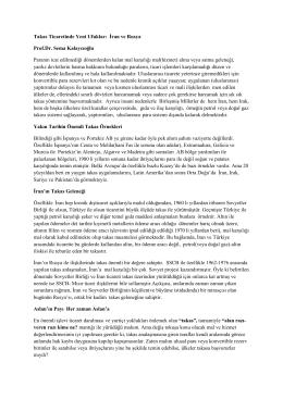 Takas Ticaretinde Yeni Ufuklar: İran ve Rusya Prof.Dr. Sema