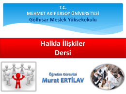 Halkla İlişkiler - Akademik ve Blog Sistemi Mehmet Akif Ersoy