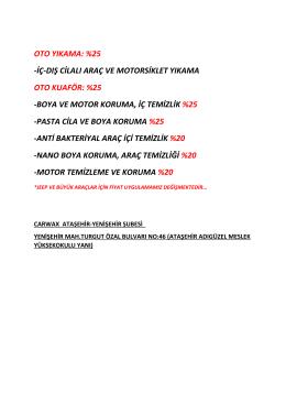 carwax indirim oranları-2015 - Ataşehir Adıgüzel Meslek Yüksekokulu