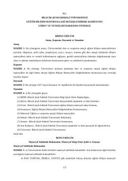 Eğitim-Bilişim Materyalleri Komisyon Yönergesi