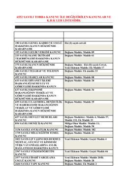 6552 sayılı torba kanunu ile değiştirilen kanunlar ve k.h.k ler listesi