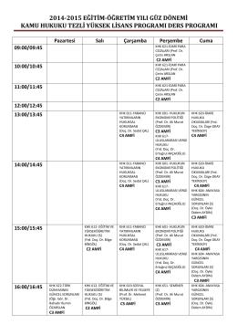 2014-2015 eğitim-öğretim yılı güz dönemi kamu hukuku tezli yüksek