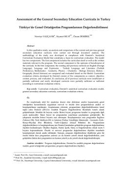 Türkiye de Genel Ortaöğretim Programlarının