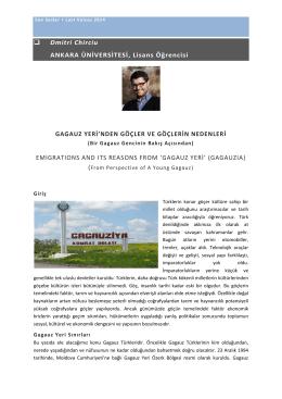 Dmitri Chirciu ANKARA ÜNİVERSİTESİ, Lisans Öğrencisi GAGAUZ
