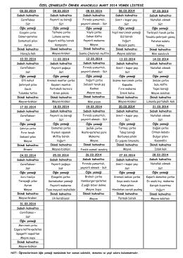 özel çengelköy örnek anaokulu mart 2014 yemek listesi