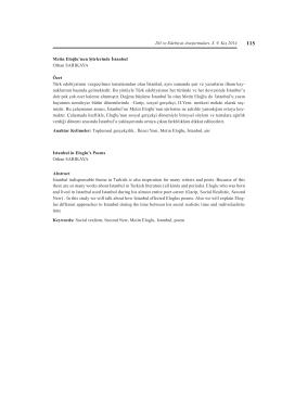 Dil ve Edebiyat Araştırmaları, S. 9, Kış 2014 Metin Eloğlu