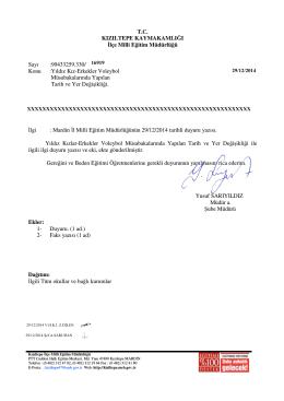 T.C. KIZILTEPE KAYMAKAMLI I lçe Milli E itim Müdürlü ü Sayı