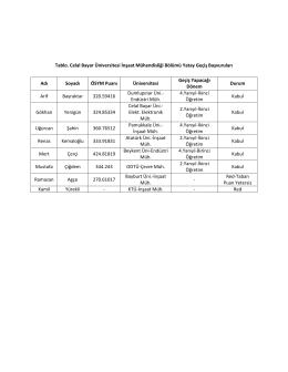 Tablo. Celal Bayar Üniversitesi İnşaat Mühendisliği Bölümü Yatay