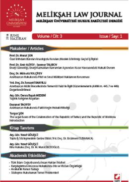 Kapak ve Dergi Bilgileri - Hukuk Fakültesi,Melikşah Üniversitesi