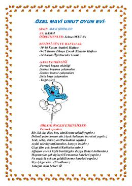 mavi umut oyun evi mavi şirinler kasım ayı programı