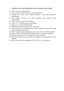 PARMAK TİP PULSE OKSİMETRE CİHAZI TEKNİK ŞARTNAMESİ 1