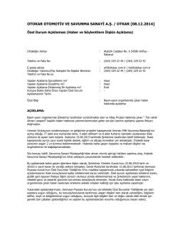 Özel Durum Açıklama Formu - 08.12.2014