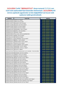"""21/11/2014 Tarihli """"38029a5377117"""" dosya numaralı T.I.T.C.K. nun"""