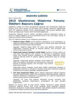 2015 Uluslararası Ulaştırma Forumu Ödülleri: Başvuru