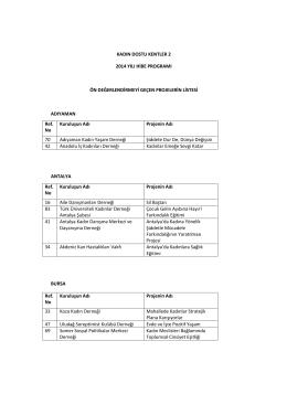 2014 Yılı Hibe Programı Ön Değerlendirme Sonuçları