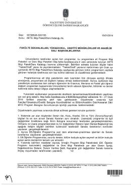 AKTS Bilgi Paketi/Ders Kataloğu Son Düzeltme Duyurusu
