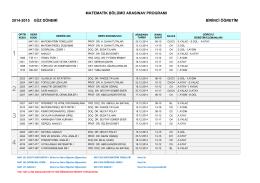 MATEMATİK BÖLÜMÜ ARASINAV PROGRAMI 2014