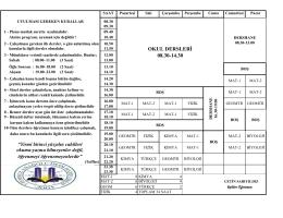 OKUL DERSLERİ 08.30-14.30