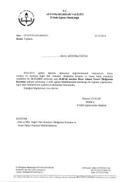 Müdürlüğümüzün konu ile ilgili 25/12/2014 tarih ve 6899291 sayılı