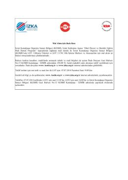 Mal Alımı için ihale ilanı İzmir Kemalpaşa Organize Sanayi Bölgesi