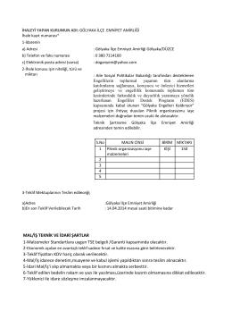 MAL/İŞ TEKNİK VE İDARİ ŞARTLAR 1
