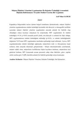 Müşteri İlişkileri Yönetiminin Rekabet Üstünlüğüne Etkisi:Nevşehir
